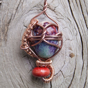 Fairy Heart Handmade Wire Wrapped Bead Pendant